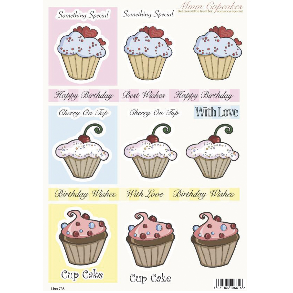 "3D Die-Cut Decoupage Sheet 8.3""X11.69""-Cupcakes: Special & Cherry On Top"