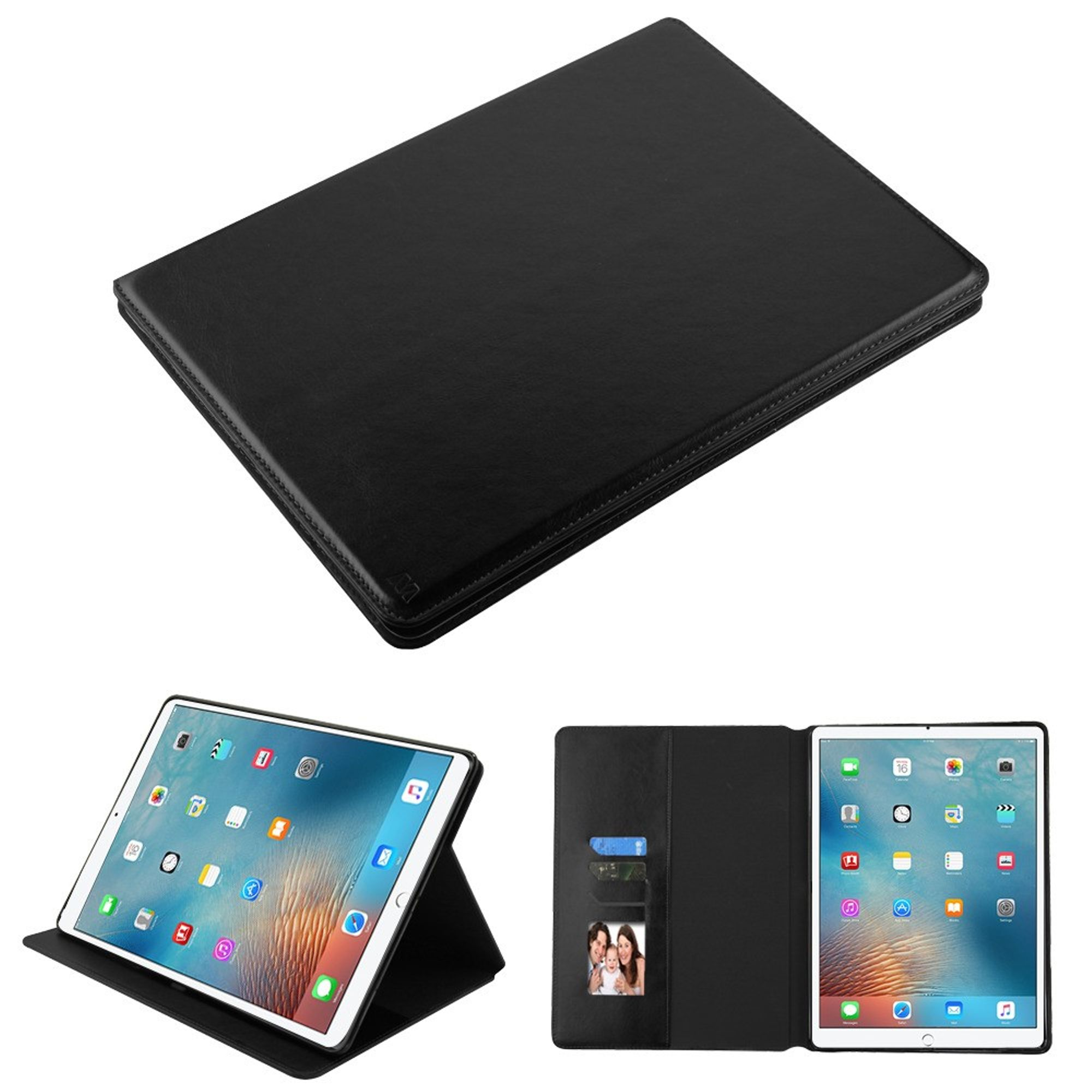 """Insten Stand Folio Flip Leather Wallet Flap Pouch Case Phone Cover For Apple iPad Pro 12.9"""" (2017) - Black"""