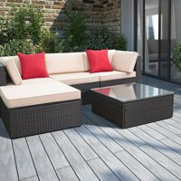 Walnew 5 Pieces All-Weather Conversation Set and Glass Table