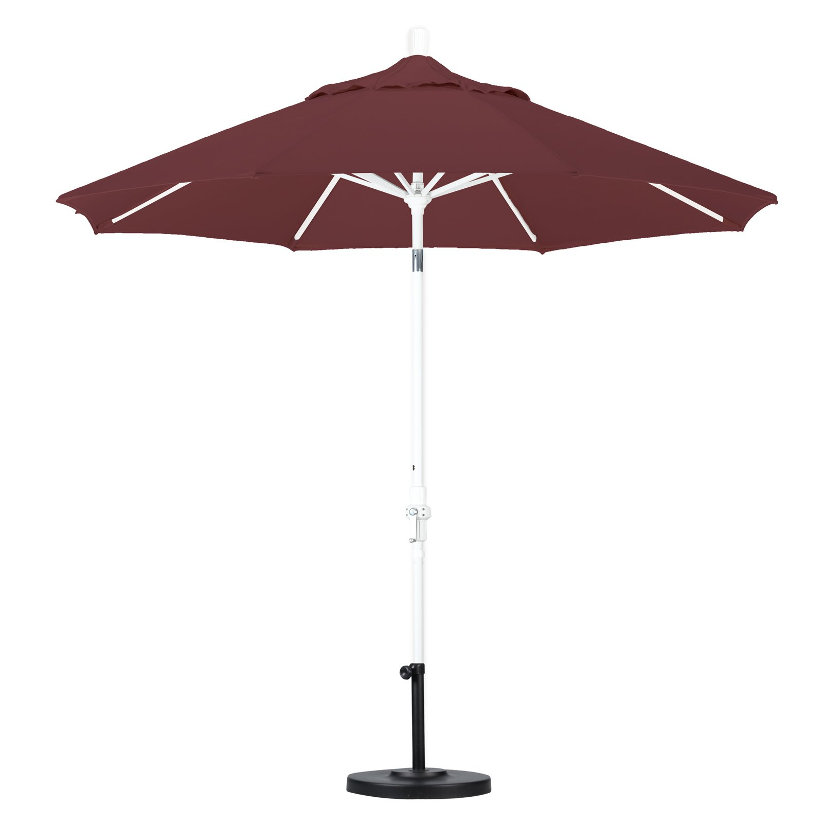 California Umbrella 9' Aluminum Market Umbrella Collar Tilt, Bronze, Olefin, Navy White Stripe
