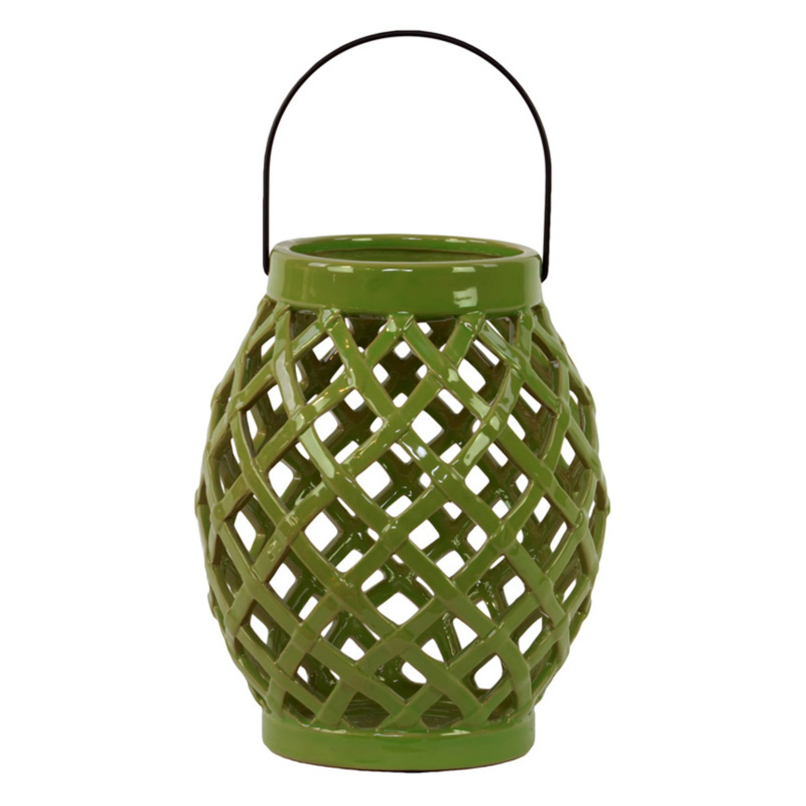 Urban Trends Collection: Ceramic Hand Lantern, Gloss Finish, White