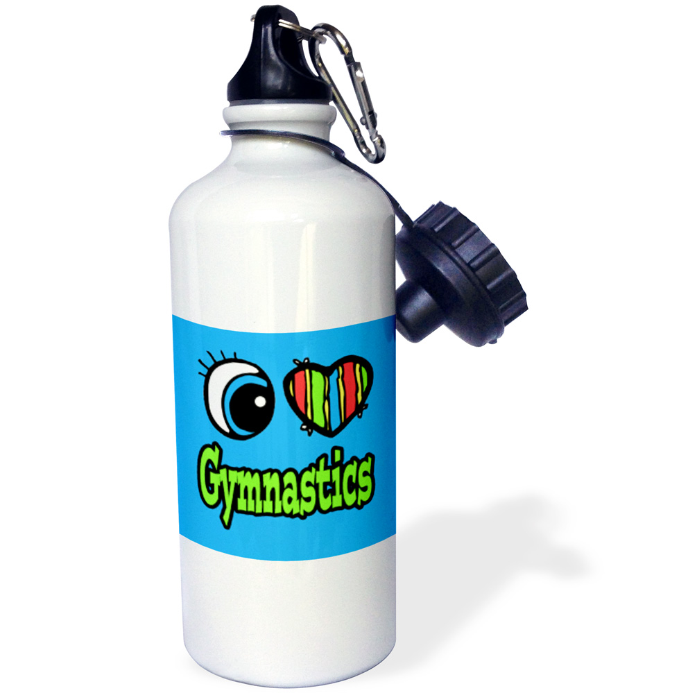 3dRose Bright Eye Heart I Love Gymnastics, Sports Water Bottle, 21oz