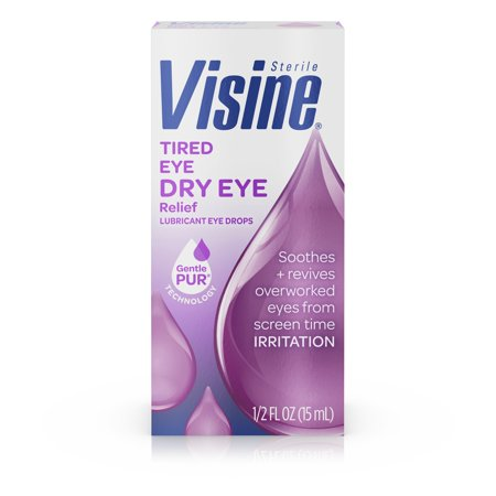 Visine Tired Eye Dry Eye Relief Eye Drops, 0.5 fl. (Best Eye Drops To Use With Contact Lenses)