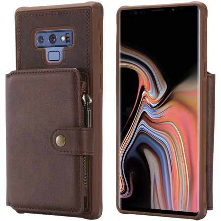 Samsung Galaxy Note 9 Case,Zipper Leather Card Cash Slot Large Capacity Protective Cover Durable Shell Kickstand Men - image 1 of 5