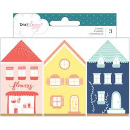 Dear Lizzy Lovely Day Wooden House Shaped Stamps Card Sayings 3 Per Package