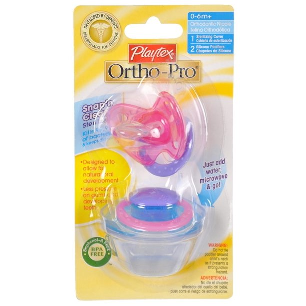 Playtex Ortho-Pro Silicone Size 1 Pacifiers, 2 Pack