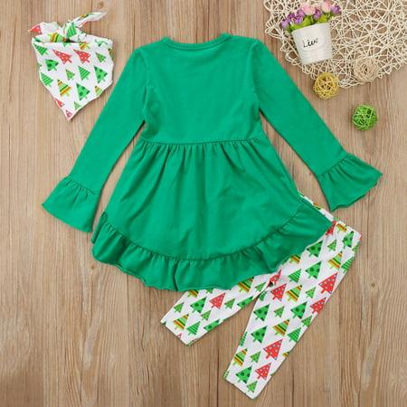 Boutique Toddler Kids Girls Christmas Reindeer Dress Tops Pants 3Pcs Outfits Set