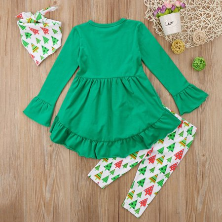 Boutique Toddler Kids Girls Christmas Reindeer Dress Tops Pants 3Pcs Outfits (Boutique Clothing Children's)