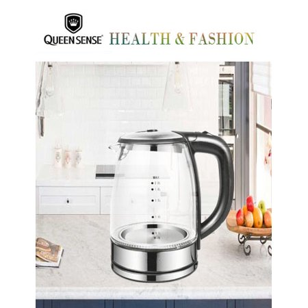 [Factory Store] QUEEN SENSE SpeedBoil Cordless Electric Kettle Glass Tea, Coffee Pot 1.7 Liter Cordless with LED Light, BPA-Free with Auto Shut-Off and Boil-Dry ProtectionGK2001