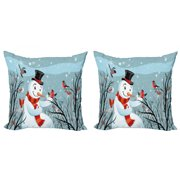 Christmas Throw Pillow Cushion Cover Pack of 2, Snowy Winter Tree Branches Berries Bullfinch Birds Snowman Hat, Zippered Double-Side Digital Print, 4 Sizes, Almond Green Orange, by Ambesonne