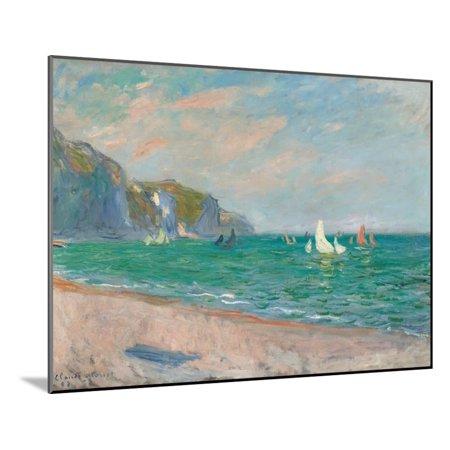 Boats Below the Pourville Cliffs; Bateaux Devant Les Falaises De Pourville, 1882 Coastal Beach Ocean Impressionism Landscape Wood Mounted Print Wall Art By Claude Monet (Le Monet Halloween)