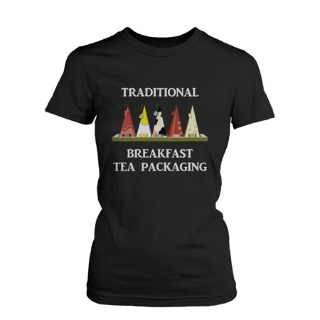 Traditional Breakfast Tea Packaging Humor T Shirt Funny Graphic Tee For Women  Funny Shirt