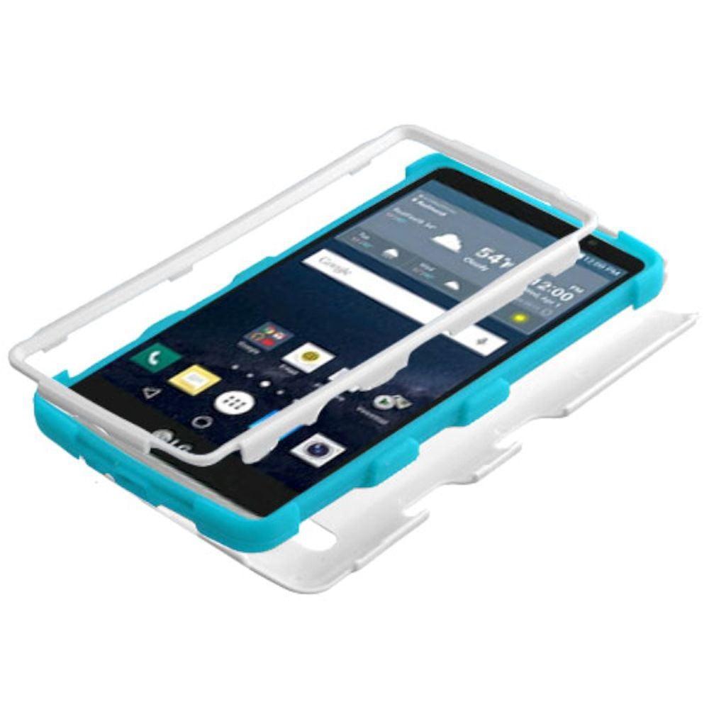 Insten Tuff Hard Dual Layer Rubber Silicone Cover Case For LG G Stylo - White/Blue - image 1 de 3