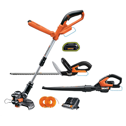 WORX 3-Piece Combo Kit 20V LithiumPower WG155, WG255, WG545 with Quick Charger