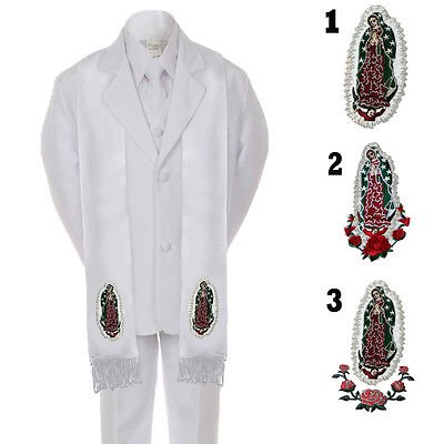 6PC BABY KID TEEN BOY 1ST COMMUNION BAPTISM CHRISTENING WHITE SUIT STOLE SM-20 - First Communion Suit Boy
