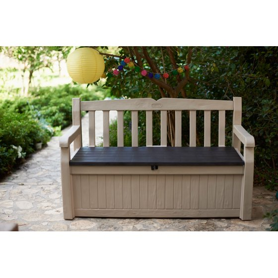 Astounding Keter Eden Outdoor Resin Storage Bench All Weather Plastic Machost Co Dining Chair Design Ideas Machostcouk