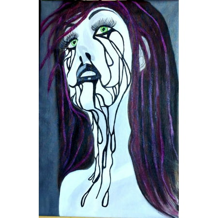 LAMINATED POSTER Oil Painting Fantasy Form Halloween Woman Face Poster Print 24 x 36](Easy Face Paintings For Halloween)