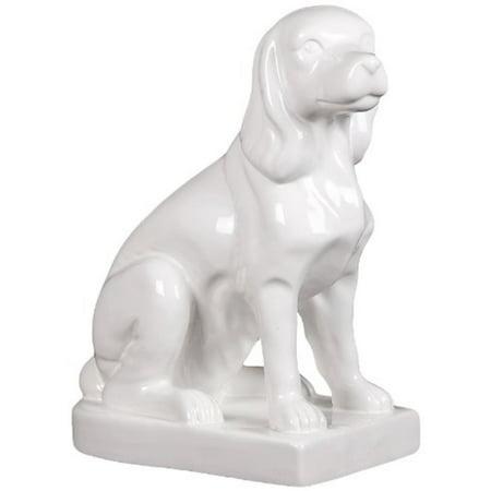 Ceramic Beagle Sitting On A Platform - White