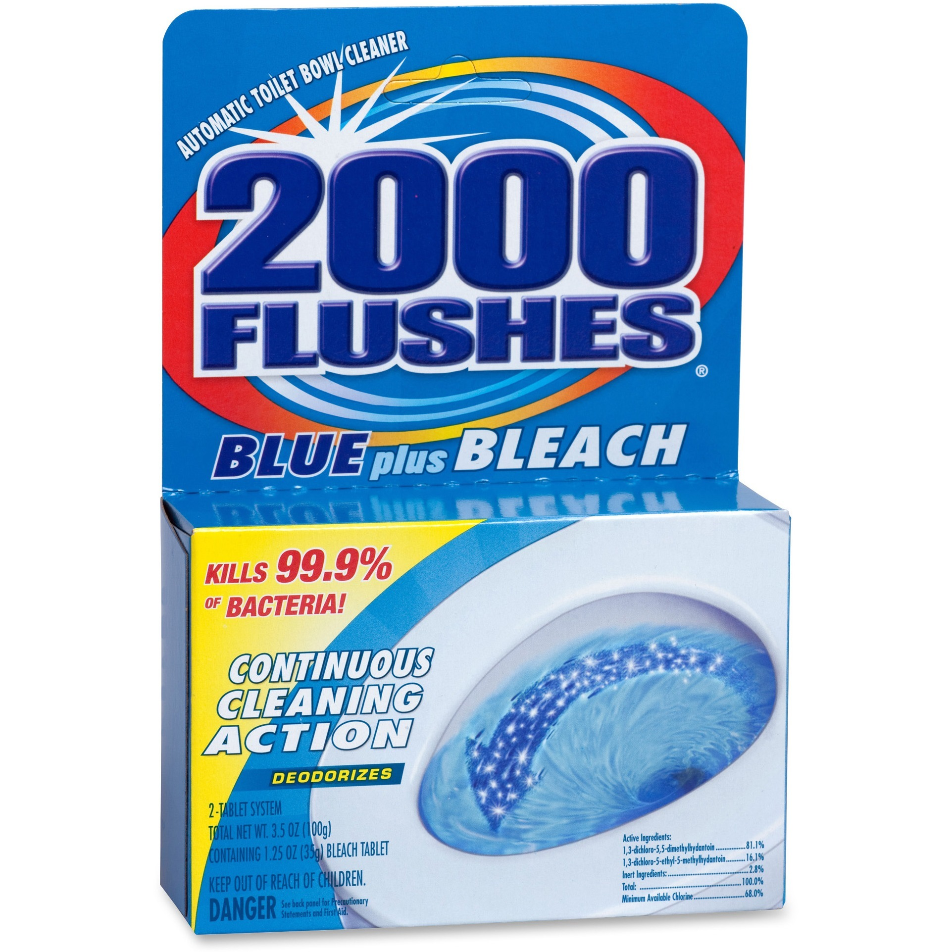 WD-40, WDF208017CT, 2000 Flushes Blue/Bleach Bowl Cleaner Tablets, 12 / Carton, Blue