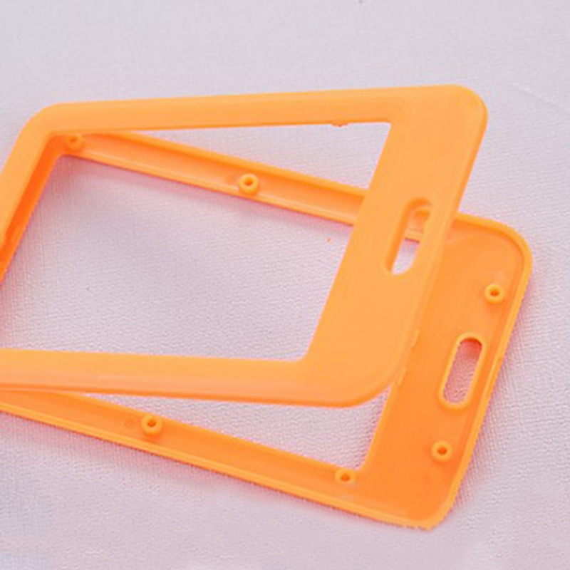 Work Card Holder Portable Colorful Employee Plastic ID Card Holder Name Tag Lanyard Neck Strap Yellow