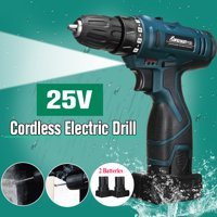 25V Professional Cordless Impact Wrench Hammer Drill Wireless Electric LED Screwdriver 3/8Inch Driver 4400mAh 0-1650RPM Rechargeable 2 Speed Screwdriver Drill