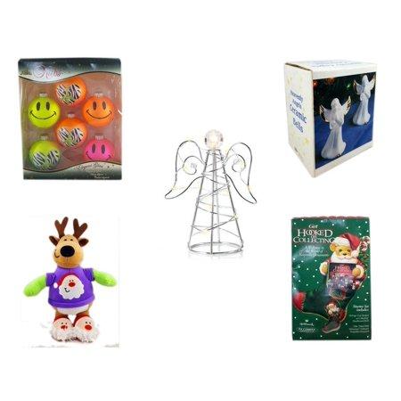 Christmas Fun Gift Bundle [5 Piece] - Krebs Bright Neon Glass Ornaments Set of 6 - Heavenly Angels Ceramic Bells 4