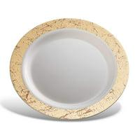 "Host & Porter Gold Rim Plastic Lunch Plates, 9"", 10 Count"