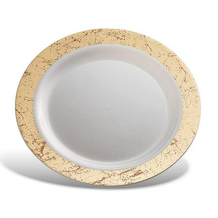 Host & Porter Gold Rim Plastic Dinner Plates, 10.25