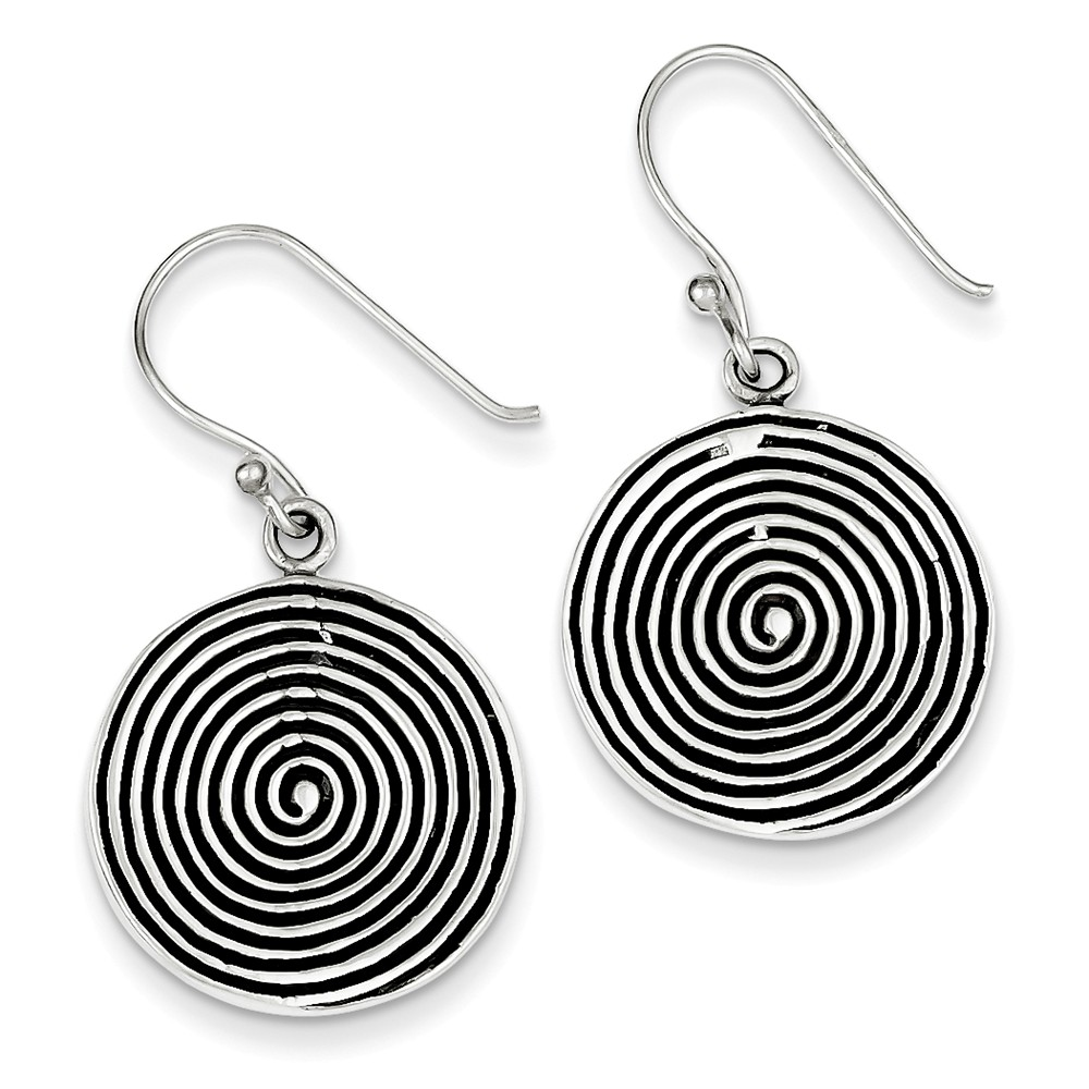 Sterling Silver Antiqued Polished & Textured Circle Dangle Earrings (0.8IN x 0.7IN )