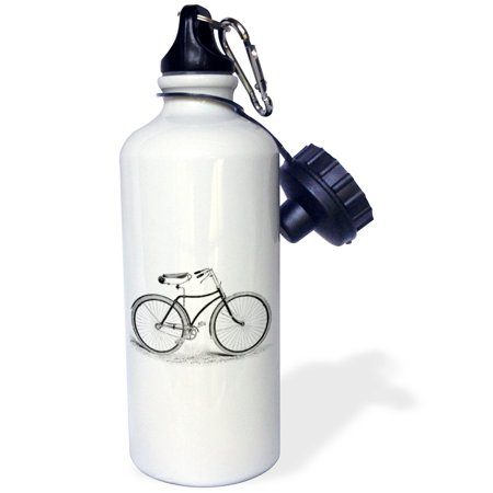 3dRose Black and white vintage bicycle pen and ink drawing print - old-fashioned cycler cycling bike, Sports Water Bottle, 21oz