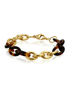 c6c99b27d4 Product Image Fashion Brown Golden Acrylic Tortoise Shell Oval Chain Link  Bracelet For Women Gold Plated Stainless Steel