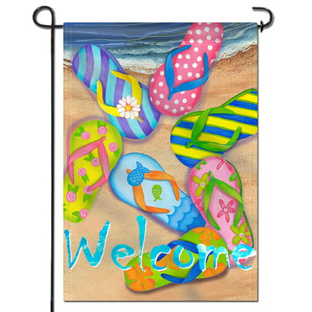 ANLEY [Double Sided] Premium Garden Flag, Flip Flops on Summer Beach Welcome Decorative Garden Flags - Weather Resistant & Double Stitched - 18 x 12.5 -