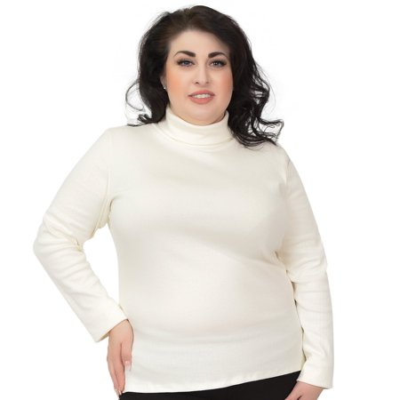 38c042720adac Stretch Is Comfort - Plus Size Warm Long Sleeve Turtleneck Top - XXX-Large ( 20)   White - Walmart.com