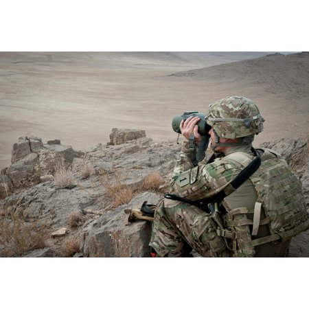 A soldier watches the impact area during a live fire exercise in Afghanistan Poster Print by Stocktrek (Da Pam 385 63 Live Fire Exercise)