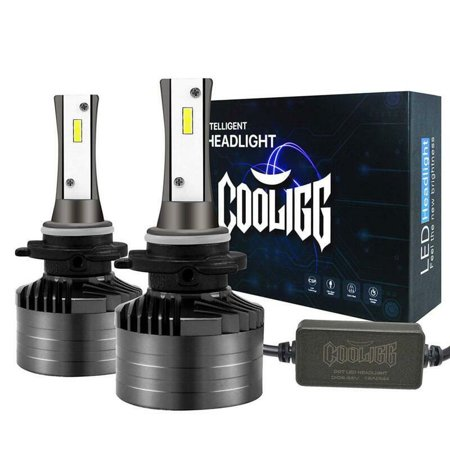 1 Pair Cooligg HB3 9005 LED Headlight Bulbs Car Driving Lamp 12000LM Upgraded Super Bright 6000K 360°Adjustable Beam Pattern CSP Cool White