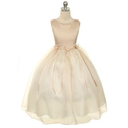 Kids Dream Little Girls Champagne Rosebud Organza Flower Girl Dress 2-6
