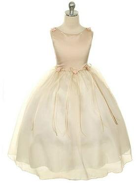 4a1ebc6fae9f Product Image Kids Dream Little Girls Champagne Rosebud Organza Flower Girl  Dress 2-6