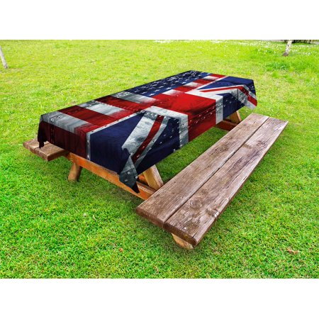 Halloween Themed Food Uk (Union Jack Outdoor Tablecloth, Alliance Togetherness Theme Composition of UK and USA Flags Vintage, Decorative Washable Fabric Picnic Tablecloth, 58 X 104 Inches, Navy Blue Red White, by)