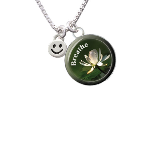 """Mini Smiley Face Breathe with Flower Glass Dome Necklace, 18""""+2"""""""