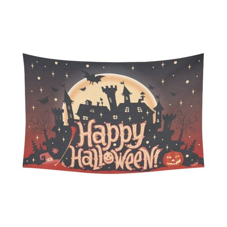 GCKG Happy Halloween Pumkin Jack O Lantern Tapestry Horizontal Wall Hanging Haunted House Wall Decor Tapestry 80x60 Inches - image 2 of 2