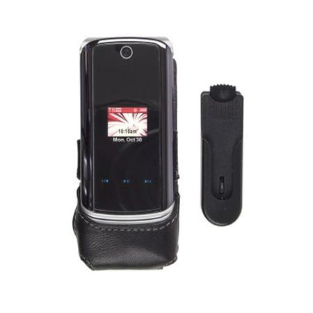 (Wireless Solutions Half Clip On Leather Case for Motorola KRZR K1m)