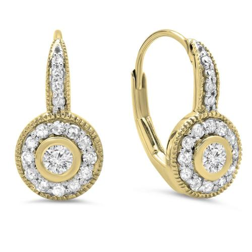 14k Gold 1/2ct TDW Round Diamond Cluster Halo Drop Earrings (I-J, I1-I2) Yellow Gold
