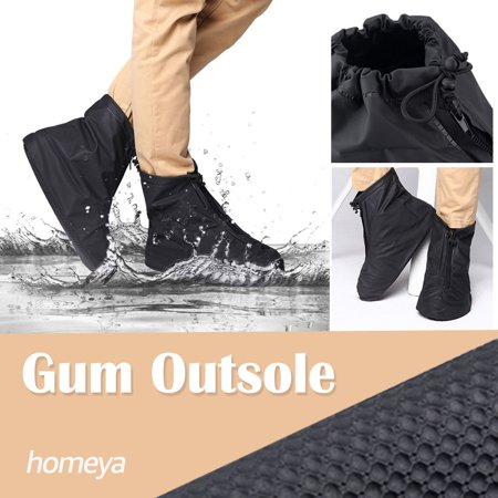 Waterproof Shoes Covers,homeya 360 Degree Snow-Resistence Rainproof PVC Fabric Zippered Shoe Covers Rain Boots Overshoes Protector Bike Motorcycle Women Men Kids Short Black XL Size (Rain Boots Motorcycle)