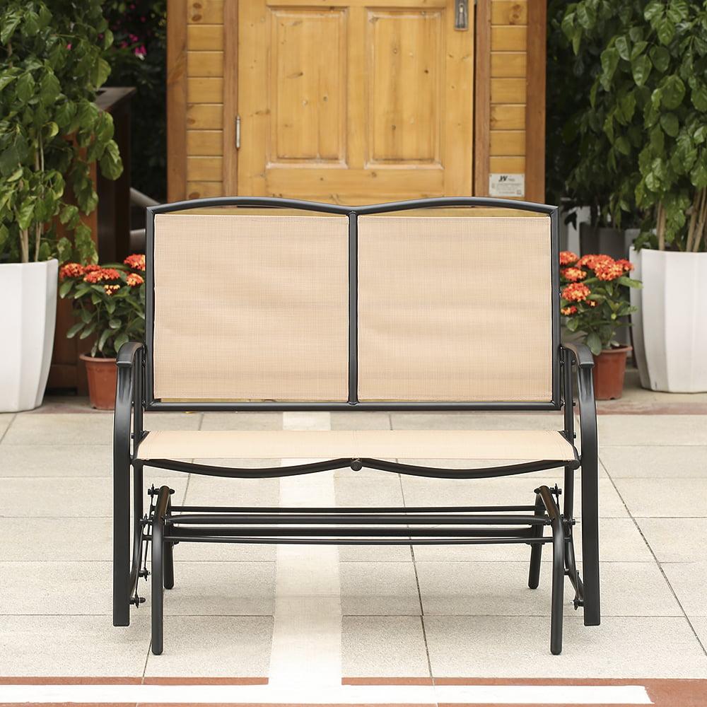 ikayaa 2 person patio swing glider bench chair loveseat textliene garden outdoor rocking chair seating steel frame walmartcom - Glider Bench