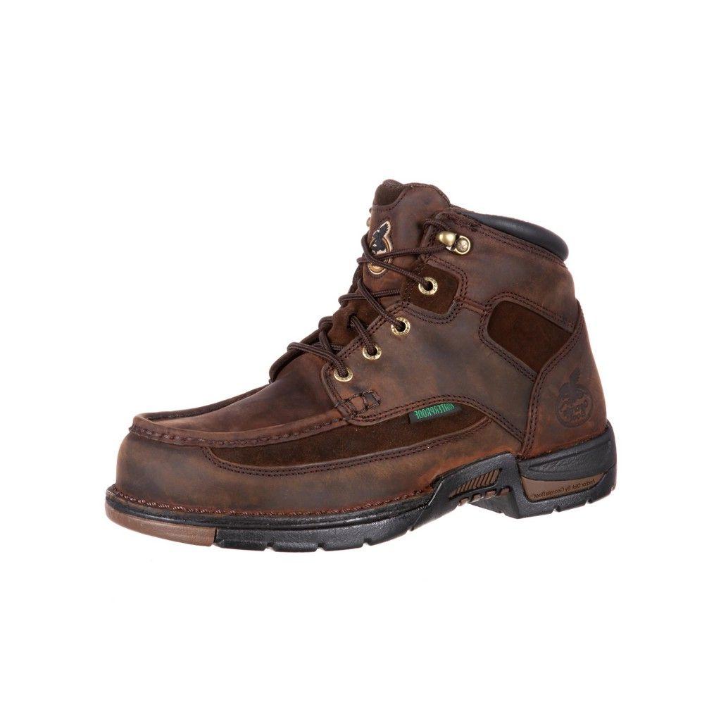"Image of Georgia Boot Work Mens 6"" Athens Waterproof Moc Toe Lacer Brown G7403"
