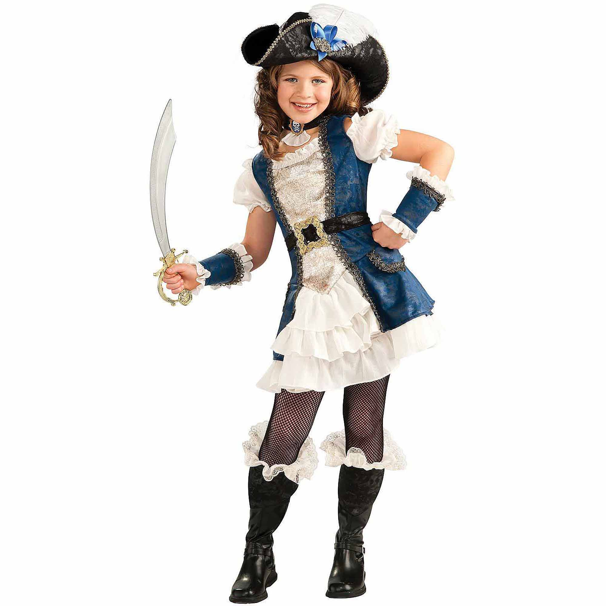 Blue Pirate Girl Child Halloween Costume