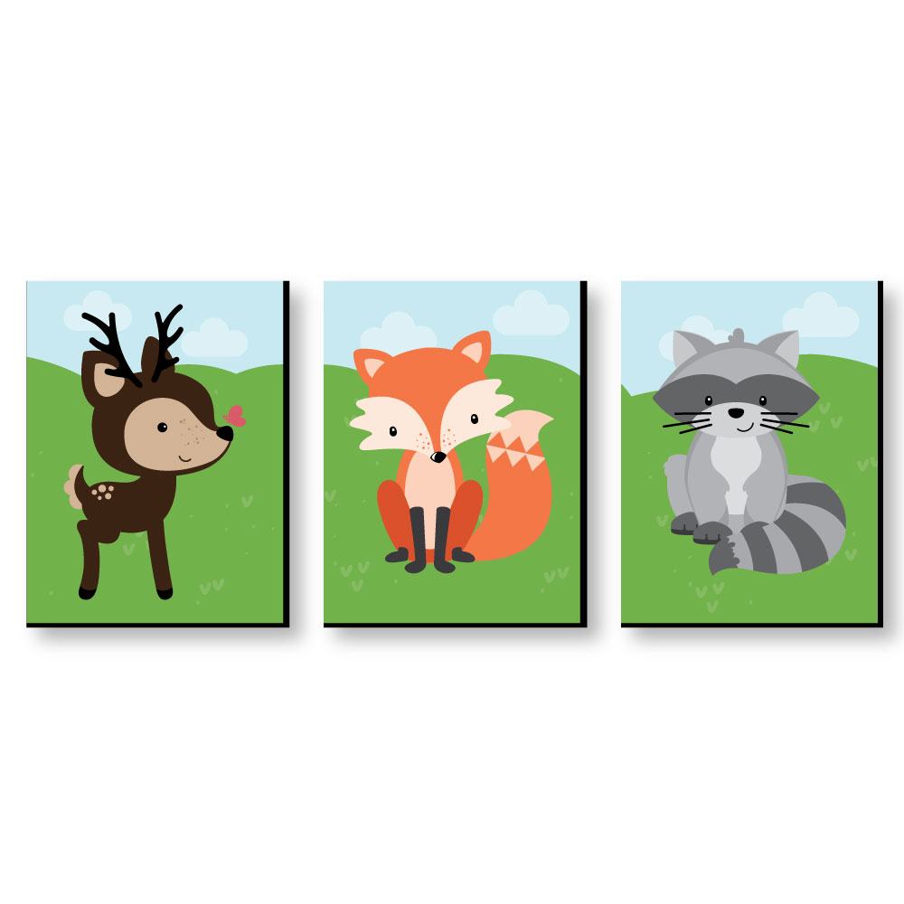 "Woodland Creatures - Gender Neutral Forest Animal Nursery Wall Art & Kids Room Decor - 7.5"" x 10"" - Set of 3 Prints"