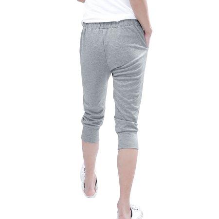 Allegra K Hommes Cordon Taille élastique Sport Décontracté Court Pantalon Noir W30 - Gris Clair, Homme, Tour de Taille 81cm x Standard - image 5 de 8