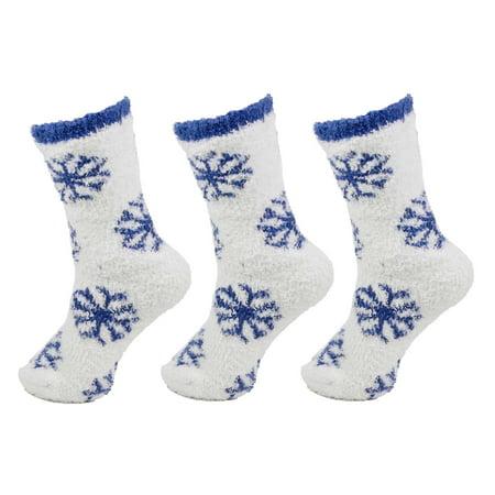BambooMN - Fuzzy Snowflake Socks - 05 Snowflake Party - 3prs