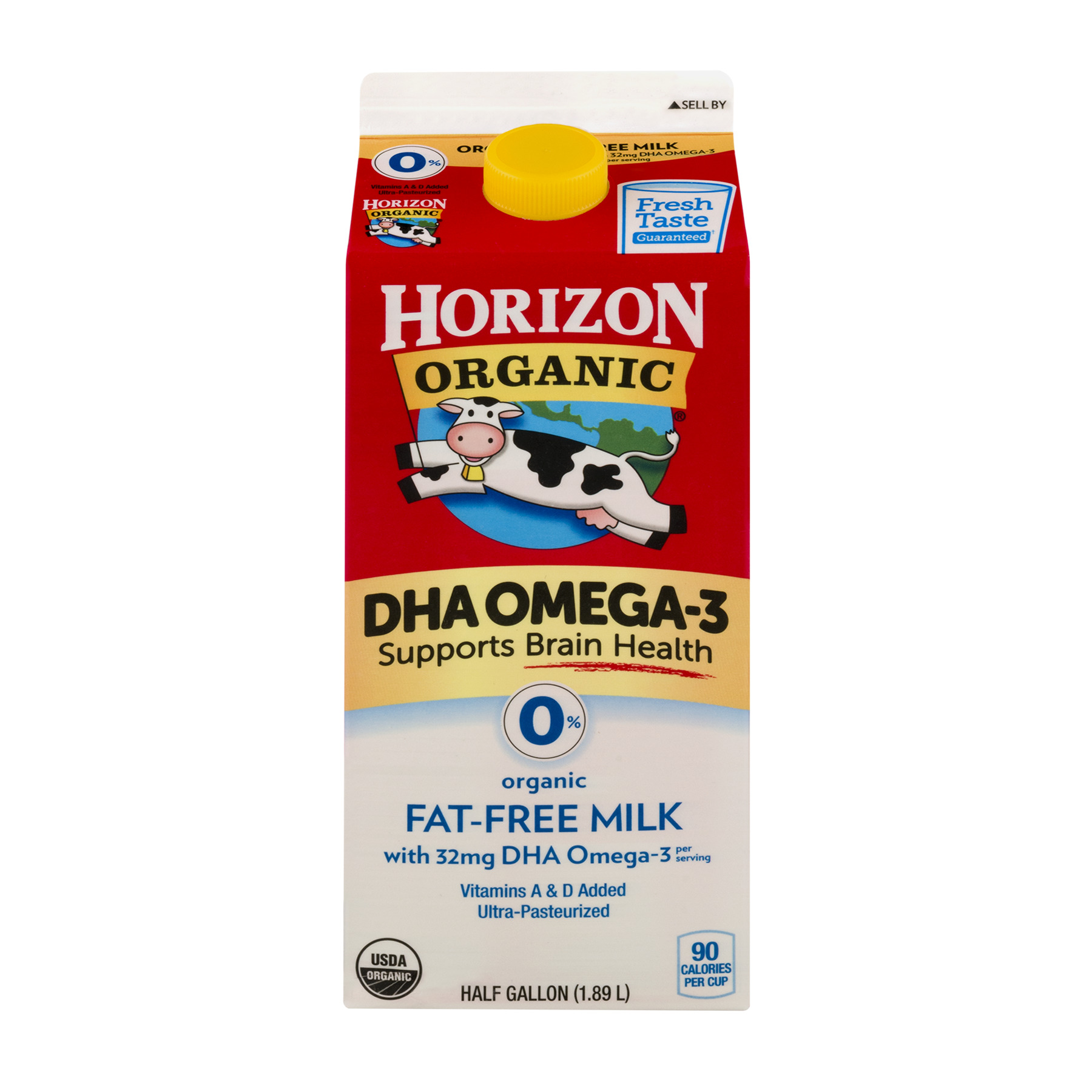 Horizon Organic 0% Fat-Free DHA Organic Milk, Half Gallon